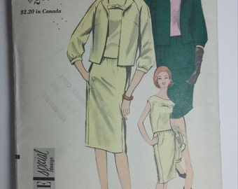 Vogue 5954 Two Piece Dress and Jacket Pattern vintage women's 1950 1960 size 10 bust 31 hip 33