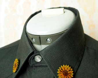 Leather Sunflower or Daisy Collar Pin Brooch Piece - Ready to ship!