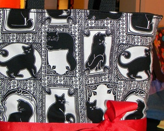 White & Black Art Deco Nuevo Black Cat Purse Tote BAG or Diaperbag