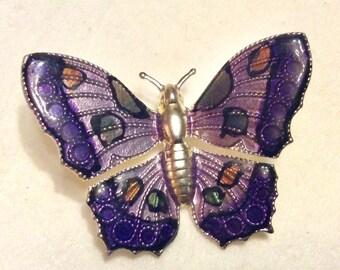 Vintage epoxy enamel on metal butterfly brooch pin.