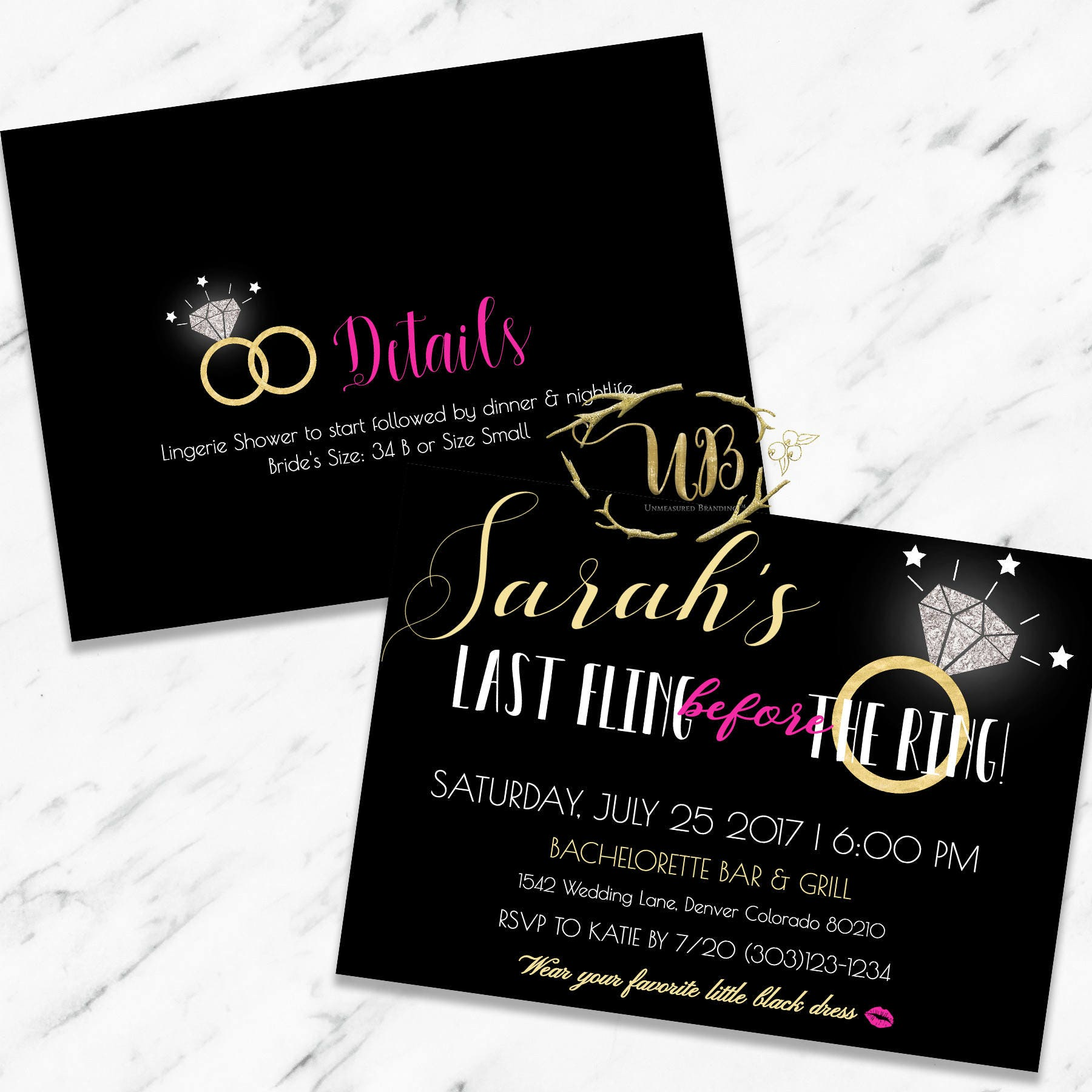 Last Fling Before the Ring | Printable Bachelorette Party Invitation ...