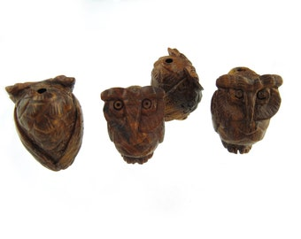 Carved Wood Owl Beads, 4 pcs