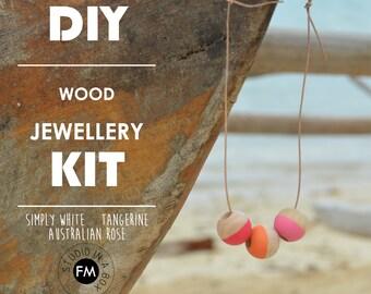 Jewellery Kit//DIY jewellery kit -Simply White, Tangerine, Australian Rose Colourway