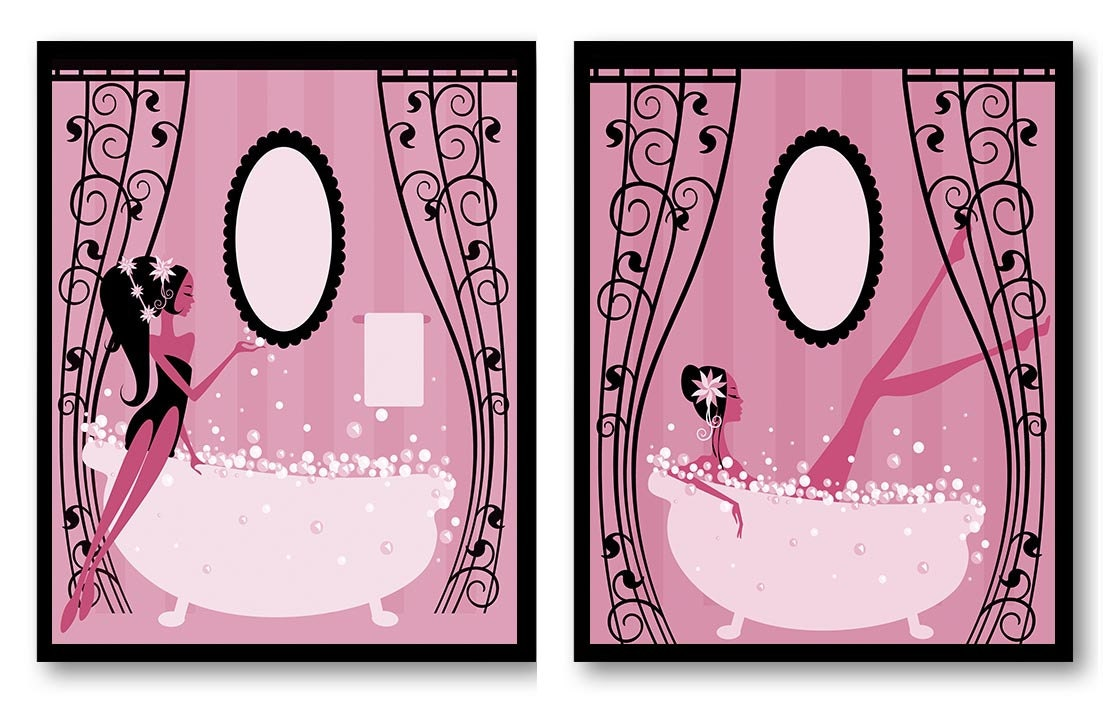 pink and black bathroom accessories.  zoom Hot Pink Black Bathroom Decor Print Set of 2