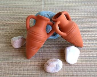 Set of 2 Mini amphora, Clay vase, decorative vases, Small vase,Home decor