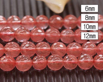 6-12mm Cherry Quartz 128 faceted round beads, 15'' one strand ( 6mm 8mm 10mm 12mm )