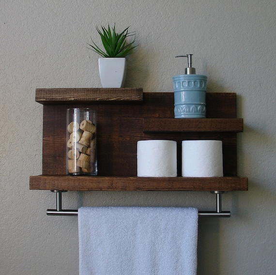 Modern Rustic 3 Tier Bathroom Shelf with 18 Satin Nickel