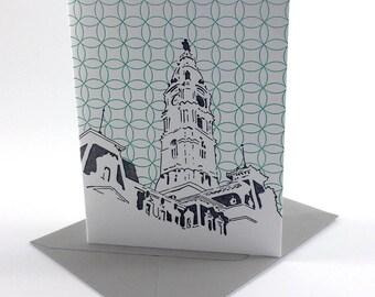 Philadelphia Letterpress Card   Philadelphia City Hall   gray & turquoise single blank card with envelope