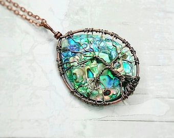Abalone shell tree of life pendant- copper wire wrapped pendant- mothers day gift- gift for her- tree of life necklace- abalone necklace