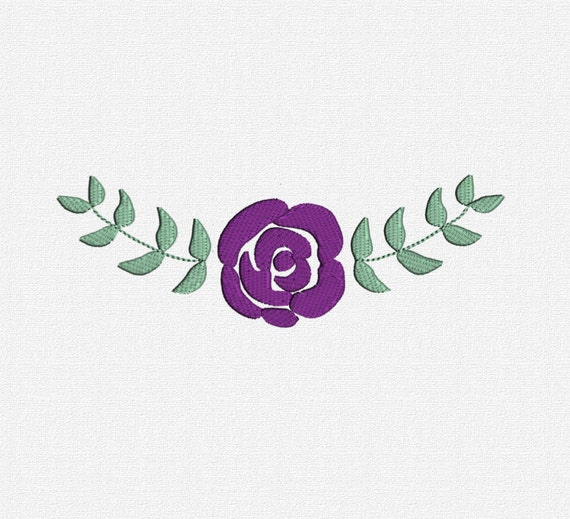 filled rose and leaves machine embroidery design pattern download 7 sizes modern border