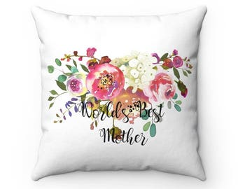 Worlds Best Mother Throw Pillow, Decorative Pillow, Decorative Throw Pillow, Indoor Pillow, Pink Rose Pillow, Gift for mom
