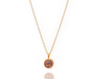 Druzy POP Necklace - Peacock Druzy in Yellow Gold - Druzy / Drusy Necklace - 24k Gold Vermeil - Small Round Druzy Drop Charm Pendant
