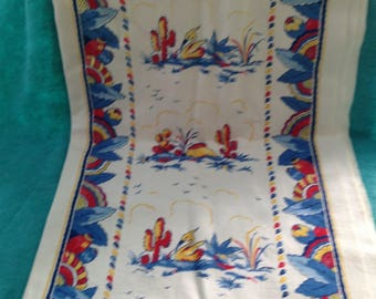 Vintage Art Deco Mexican or Southwest Themed Heavy Cotton Fabric 8' Unused