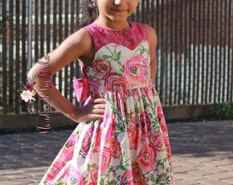 Floral Dress , toddler Spring dress, rose print dress, floral print dress