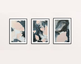"Set of 3 small original abstract paintings ""Soft Panda"" by Jules Tillman in dusty pink, dark grey, white & black. Modern art home decor."