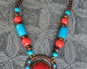 African chunky pendant necklaces.