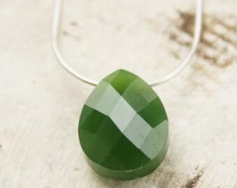 Dark Green Jade Necklace - Nephrite Jade - Faceted Teardrop