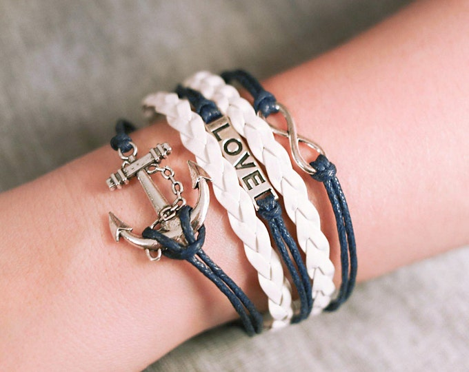 Nautical Bracelet, Fashion Silver Tone, Anchor, Love, Leather Braided, White, Blue by SEASTYLE