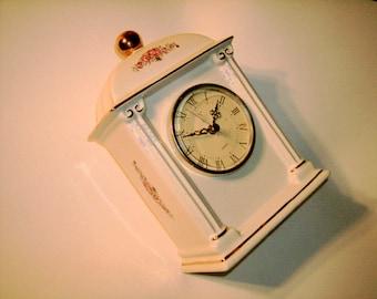 Vintage Porcelain Clock Paul Sebastion Limited Edition Vintage Quartz Movement Floral Rose Gold Trim Ceramic Clock Roman Numeral Clock Face