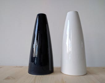 Ceramic Vases // Black and White // Two Vases // Totally handmade in Italy