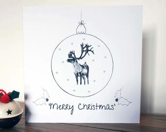 Reindeer Glitter Christmas Card