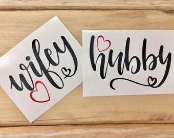 Wifey and Hubby Vinyl Decal Set | OUTDOOR vinyl listing   ~