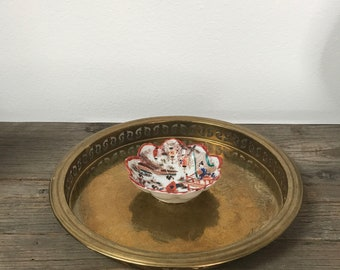 Vintage etched engraved brass round tray with chinoiserie bowl