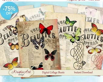 75% OFF SALE Bright Butterflies Cards - Digital Collage Sheet Greeting ATC Cards C042 Printable download tags digital image cardmaking