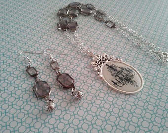 Silver Chandelier Necklace and Earring Set