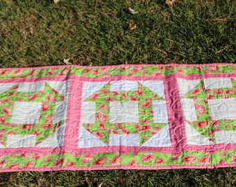 Handmade Quilted Table Runner-Greem Pink Floral Table Runner- Free Shipping