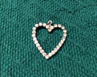 Vintage Silvertone and Rhinestone Heart Pendant