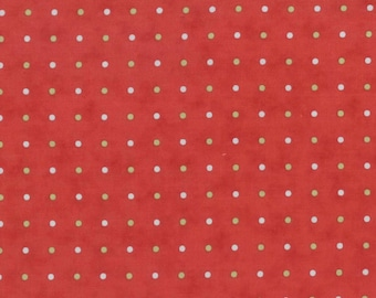 Snowfall Prints Poinsettia Dots 14832-12, by Minick & Simpson of Moda Fabrics, Red Background with Green, and Blue Dots