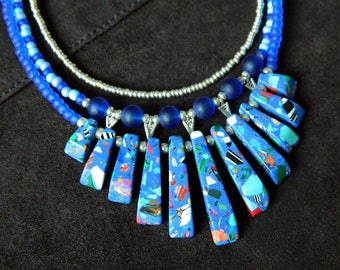 Blue Statement necklace Multi strand collar necklace, Bohemian bib glass bead necklace, Summer necklace, Chunky Boho necklace Resort
