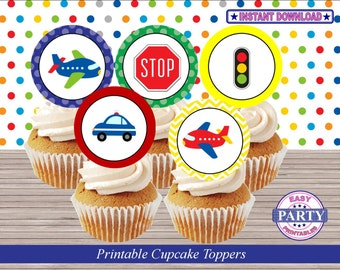 Transportation Party Cupcake toppers, colorful, Instant Download, Birthday Party, cars, street lights, trains, trucks, and more, DIY