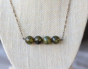 Green Crackle Row Necklace | Layering Necklace | Bar Necklace