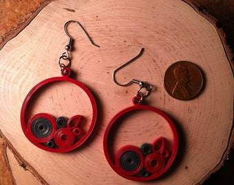 Red Navy Circle Quilled Earrings