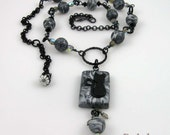 Lucky Black Cat necklace, polymer clay beads and gunmetal chain - reserved listing
