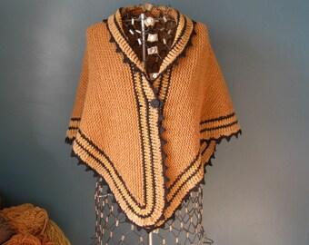 Brown Wool Shawl Black Walnut Dyed