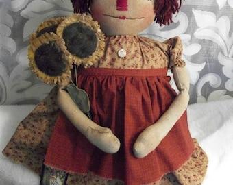 PATTERN, Primitive doll  Raggedy Annie & sunflowers,  original by Dumplinragamuffin,#101