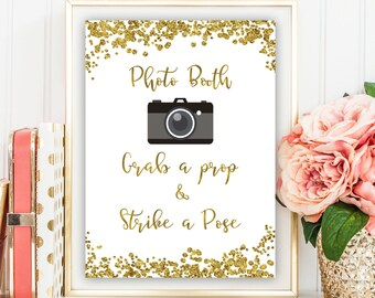 Bridal Photo Booth Sign, Gold Bridal Photo Booth Sign, Photo Booth Wedding Printable Sign, Grab a Prop and Strike a Pose, Gold Photo Booth