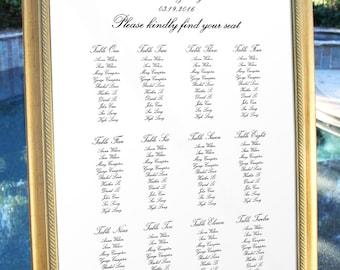 Wedding Table Seating Table Chart Traditional Classic Reception Seating Chart Seating Plan Wedding Decor Decoration Digital Printable TS06