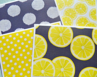 Set of 4 / Note Cards / Blank Note Cards / Blank Stationery / Polka Dot Notecards / Lemon Note Cards / Blue Yellow Note Cards / ybnc2