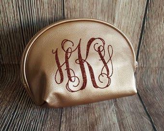 Custom personalized cosmetic bags, Glitter monogram bags, Silver, Gold, Bronze, Metallic make up bags, Christmas Gift, Stocking stuffer
