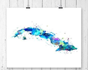 Cuba Watercolor Map #2 Art Print, Poster, Wall Art, Contemporary Art, Modern Wall Decor, Office Decor