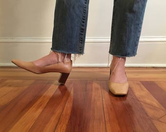 Classic Beige Leather Shoe With Wood Stacked Heel