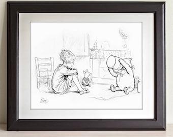 Pooh Eating Honey - Winnie the Pooh 11x14 Unframed Nursery Art Print