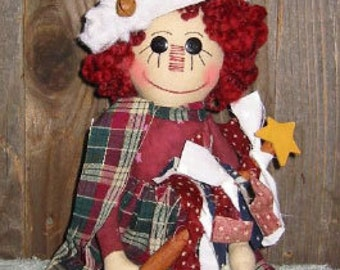 Americana Christmas Doll Epattern, Raggedy Ann,  Digital Downloadable Pattern