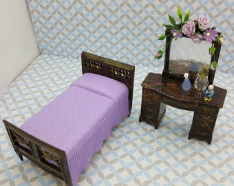 Renwal Bedroom Vanity Dresser Violet Spread Bed Doll House Toy  miniature Bedroom hard plastic
