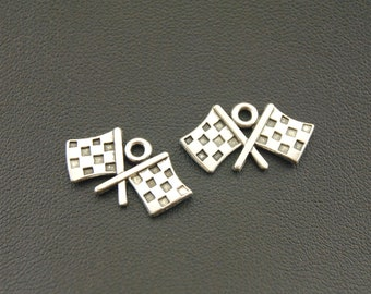 20PCS, Flag Charm, Antique Silver, Vintage Findings, Jewelry Accessories, Craft Supplies