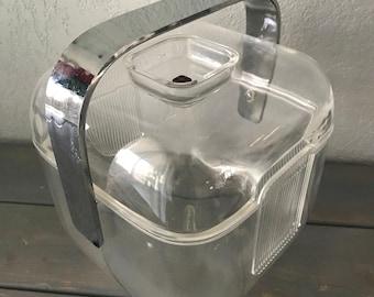 Vintage 1970s GUZZINI Amanda MCM mid-century-modern lucite ice bucket with lid